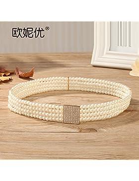 SILIU*Pearl cintura femenina enlace fina decoración agua elástica perforación falda silvestres Sra. Link Estirar...
