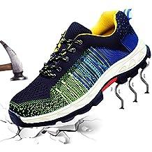 Hombre Mujer Zapatillas de Seguridad con Puntera de Acero Antideslizante Transpirable Zapatos de Trabajo Calzado de
