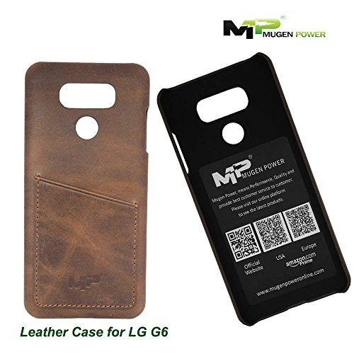LG G6 (Movistar, Vodafone,Yoigo,Orange Spain), Funda de cuero, Mugen Power [Classic Series] Auténtico lujo Premium Funda de cuero auténtico con Tarjeta de Crédito / Tarjeta de identificación la ranura [Ultra Slim] - Marrón