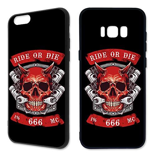 Handyhülle Rocker für Samsung Silikon Biker Rider 1% 666 MC Eisernes Kreuz Harley Patch Outlaw Hülle, Hüllendesign:Design 5 | Silikon Schwarz, Kompatibel mit Handy:Samsung Galaxy A8 (2018)