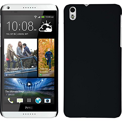 PhoneNatic Case für HTC Desire 816 Hülle schwarz gummiert Hard-case + 2 Schutzfolien