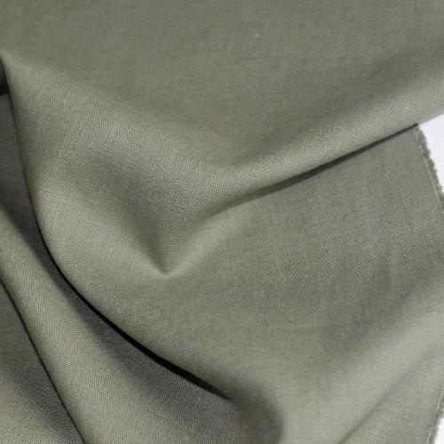 TOLKO Leinen-Stoff Meterware zum Nähen, blickdichter Naturstoff für Bekleidung, Gewänder, Vorhänge und Deko (Salbei) - Salbei Baumwolle Stoff