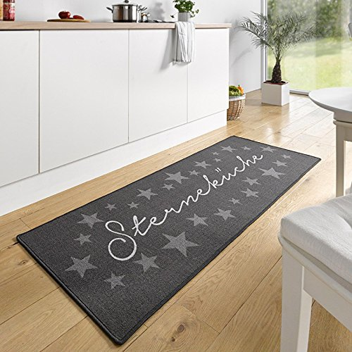 Hanse Home 102369 Design Velours Küchenläufer Sterneküche, Grau, 67x180 cm