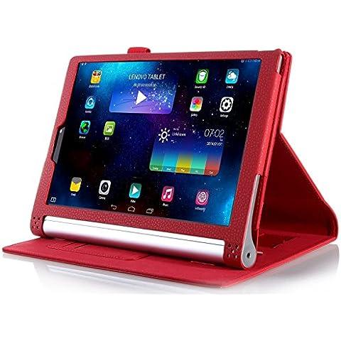 ELTD Lenovo Yoga Tab 3 Pro cover, Book-style Funda de piel de cuerpo entero para Lenovo Yoga Tab 3 Pro 10.1-inch con la función del sueño / despierta, Rojo