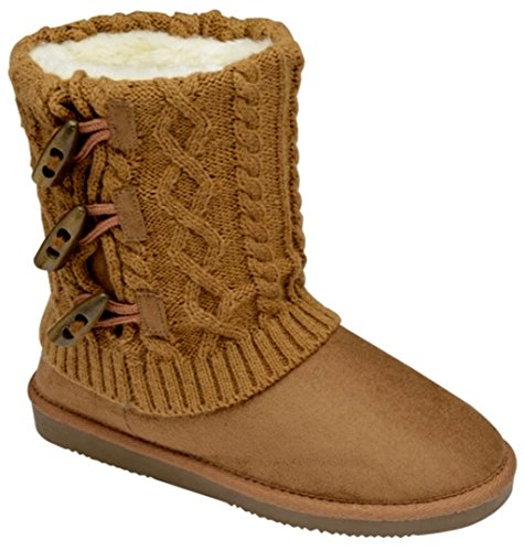 Barratts Womens LB8943 Knitted Leg Faux Suede Boot with Toggle Trim 7