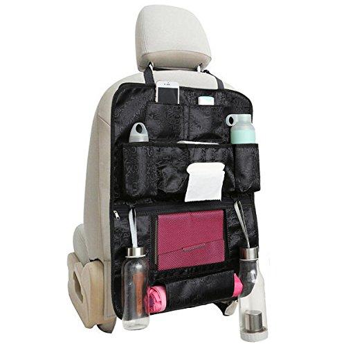 MATCC Auto Rückenlehnenschutz Wasserdicht Rückenlehnen Tasche Rücksitzschoner Mit Multi-Taschen Auto-Utensilientasche Trittschutz Für Kinder Schwarz (1 Stück)