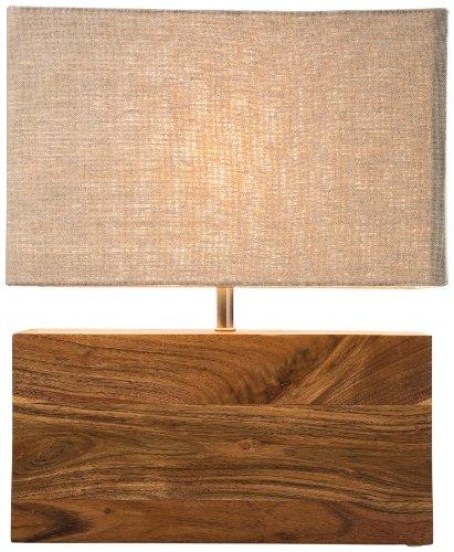 Kare Design Tischleuchte Rectangular Wood Nature, Lampe aus Massivholz, Nachttischlampe,...