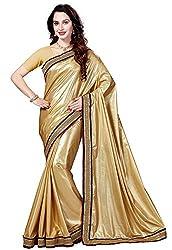 Ishin Lycra Beige Embellished Party Wear Wedding Wear Festive Wear New Collection Latest Design Trendy Womens Saree