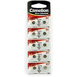 10 Camelion AG1 / LR60 / 164 / 364 / LR621 pile bouton, longue durée de conservation (date d'expiration marqué)