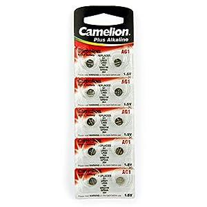 10 Camelion AG1 / LR60 / 164 / 364 / LR621 Knopfzelle Alkaline Alkali Batterie, 10-er Pack, Lange Haltbarkeit (Haltbarkeitsdatum markiert)