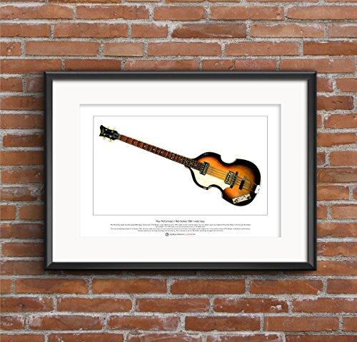 1963 Hofner 500/1 Violin bajo edición limitada Bellas Artes de impresión Tamaño A3