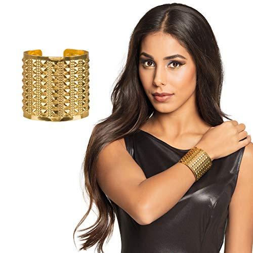 NET TOYS Antiker Göttin Armreif Amazone für Frauen - Gold - Majestätisches Damen-Kostüm-Zubehör Griechin Armband mit Nieten - EIN Blickfang für Fasching & Mottoparty