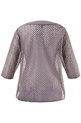 Ulla Popken Femme Grandes tailles Tunique Femme Imprimé transparente Elegante Manches 3/4 Sweat-shirt Pull-over Jumper Tops Blouse Mesh 706204 chrome chiné