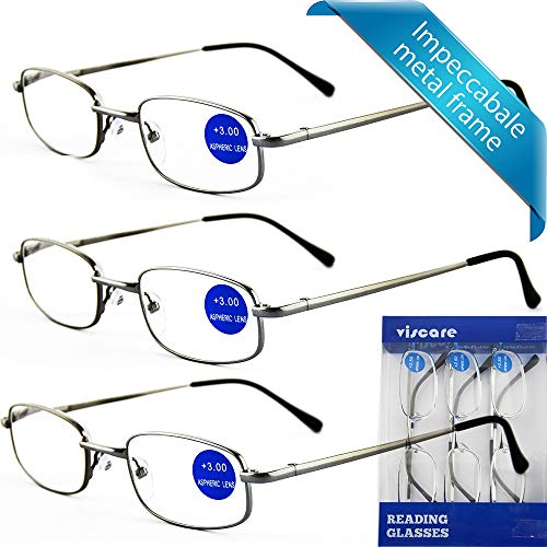 e99468f44c2 IMPECCABLE METAL frame and crystal clear vision - Viscare 3-Pack Men Women  Metal Spring