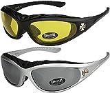 2er Pack Choppers 911 Sonnenbrillen Motorradbrille Sportbrille Radbrille - 1x Modell 03 (schwarz / gelb getönt) und 1x Modell 06 (silber / schwarz getönt und silber verspiegelt) - Modell 03 + 06 -