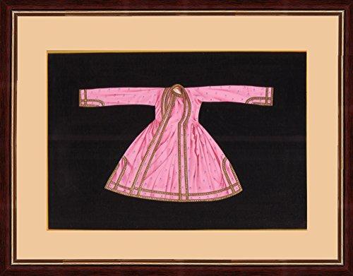 Splendid Indian 18th Century Rajasthani Emboss Painting 'Royal Rajputi Costume - Achkan'...