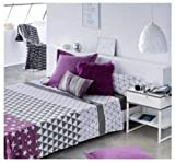 COTTON ARTean Set von Blättern Triangle 4 Stück Bett 150 X 190/200. Arbeitsplatte (240 x 260) + 2 Kissen- (45 X 80) + Einstellbar Basisblatt 150 X 190/200 + 30 cm