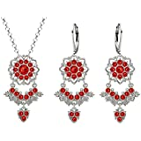 Lucia Costin Silver, Red Crystal Jewelry Set with Leaf Details