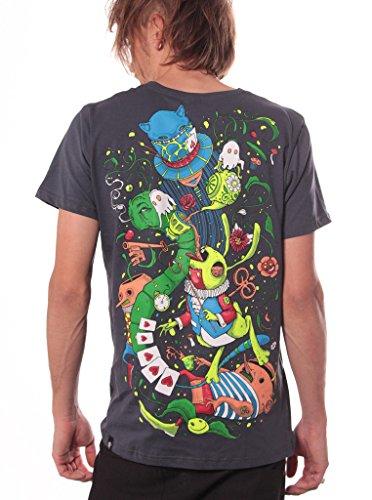 Camiseta psicodélica Alicia en el País de las Maravillas - Ropa urbana 100% algodón para hombre - Talla XL, gris acero