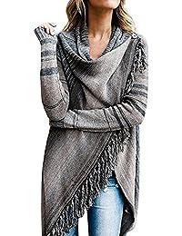 Juleya Poncho para Mujer - Cardigan Elegante para Mujer Jersey Turtleneck Cardigan Irregular Tops para Otoño Invierno Sudadera de Punto Casual Tassel Cape