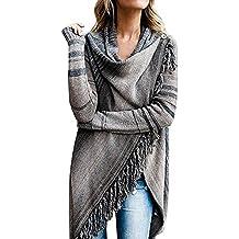 80da998b7a3421 Juleya Mantel Damen Poncho Cape - Frauen Elegant Strickjacke mit Rollkragen  Pullover unregelmäßig Cardigan Pulli Sweater