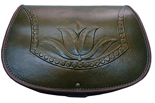 kōson Leder geformt Design Handgefertigte Handtasche einzigartige grün Tulip (Urban Leder Handtasche Geldbörse Hobo)