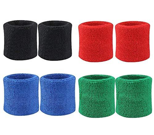 8 Stück Bunte Baumwolle Schweißbänder Sport Armbänder Schweiß Handgelenk Bands Klammer für Basketball, Tennis, Gymnastik, Golf, Running ()