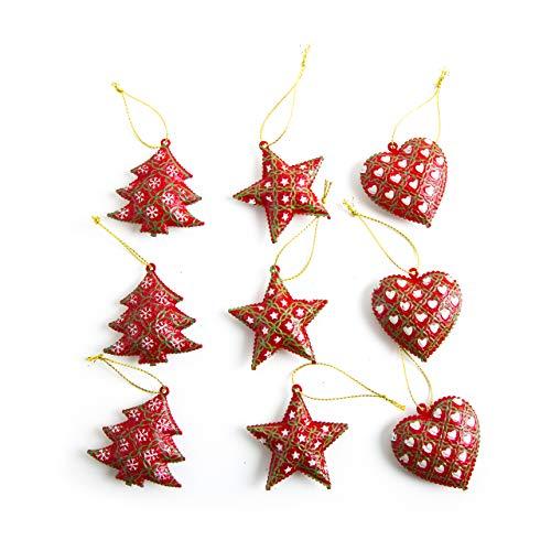9 Stück rot grün weiß Weihnachtsanhänger 5 cm scheppernd BAUM STERN HERZ METALL Weihnachts-Deko zum Aufhängen Christbaumschmuck Baumschmuck vintage Nostalgie