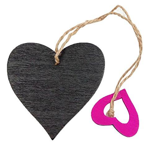 Austinstore 10 pièces étiquettes en forme de cœur vierges pour cadeau , Bois dense, rose rouge, 6.6cm x 6.2cm/2.60\