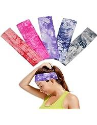 OKPOW 5 Bandeaus Imprimés Souples et élastiques du Sport ou qui Sont Contre Sueur Les Bandeaus Réglables de Différentes Couleurs les Bandeaus Pour Yoga