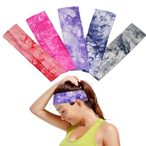 OKPOW 5 Frauen weiche Baumwolle Tie Dye Elastic Stretch Schweißband Headbands verstellbar Mädchen Haar Band sortiert Farben Yoga Stirnband