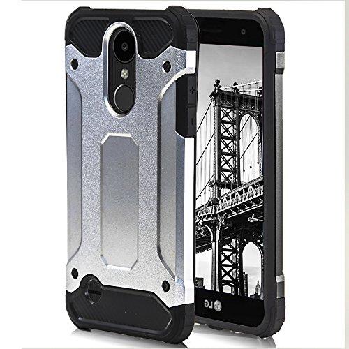 Handy Case Hülle für LG K4 (2017) | Hard Kunststoff | Schutzglas inklusive | Outdoor Stoßfest | Schutzglas Schutzglas Folie Hybrid TPU Silikon Silber Tasche Bumper Schale Schutz Schutzhülle