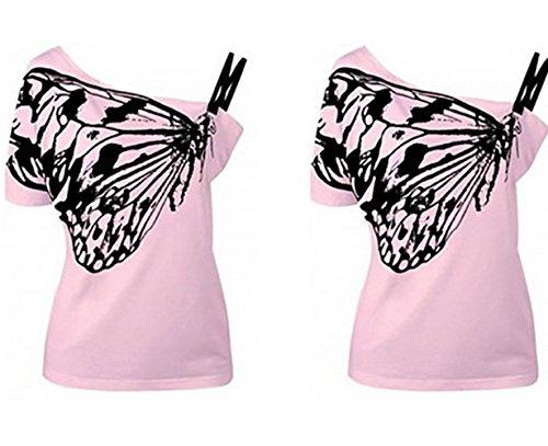 Minetom Sommer Casual Damen Frauen Bluse Eine Schulter Short Sleeve Druck Muster Schmetterling Tops T-Shirt Kurzarm Sportshirt Oberteile Rosa
