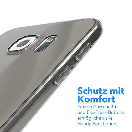 """EAZY CASE Handyhülle für Samsung Galaxy S6 Hülle - Premium Handy Schutzhülle Slimcover """"Clear"""" hochwertig und kratzfest - Transparentes Silikon Backcover in Klar / Durchsichtig Clear Hellgrau"""