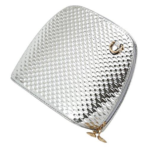 crossbody borsa - SODIAL(R)criss casuale croce piccolo guscio signore frizione donne della borsa del partito di sera spalla borsa borse crossbody Nero Argento