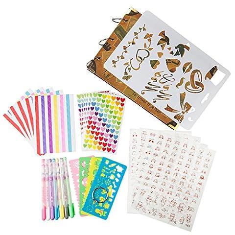 Woodmin 30 Pages Trousse D'album Photo Kit, Scrapbooking Bundle, Stockage de Photos, Livre D'invités de Mariage et Kit D'accessoires