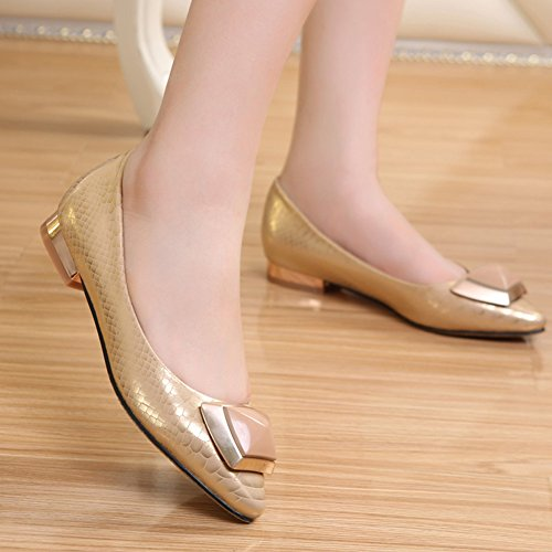 Aisun Damen Mode Schlangenhaut Metallic Niederiger Blockabsatz Pointed Toe Pumps Slipper Gold