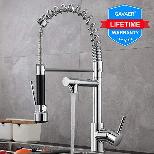 GAVAER Küchenarmatur, Modern Spiralfederhahn Wasserhahn Küche, 360° Schwenkbereich Verstellbarer Doppeldüse Wasserhahn, Kaltes und Heißes Wasser Vorhanden, Messing Verchromt