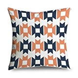 fabricmcc Mid-Century Modern Geometric naranja azul marino y blanco cuadrado Accent manta decorativa Funda de almohada Funda de cojín 18x 18