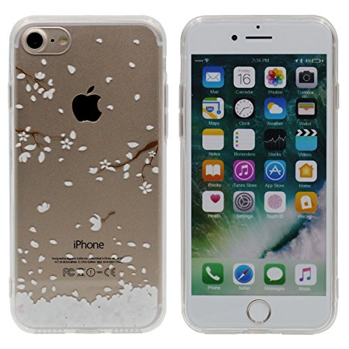 "iPhone 7 Plus Coque Case, Souple Ultra Fine Poids léger TPU Etui Apple iPhone 7 Plus 5.5"", Haute Clair Transparente, Joli Fleur Image Serie Color-5"