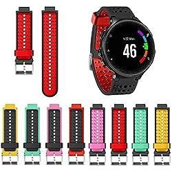 KOBWA Bracelet Silicone de Remplacement pour Garmin Forerunner 220/230/235/620/630 Montre de Running GPS