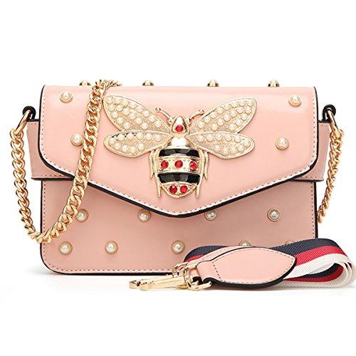 Damen Umhängetasche Mode Bienentasche Umhängetasche Mamabeutel Kettenbeutel Mädchen Tasche (21X8X15cm, Rosa)