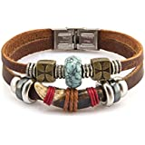 FAIRY COUPLE Vintage Hand Crafted Horn & Simulated Calaite Bead Leather Bracelet L208