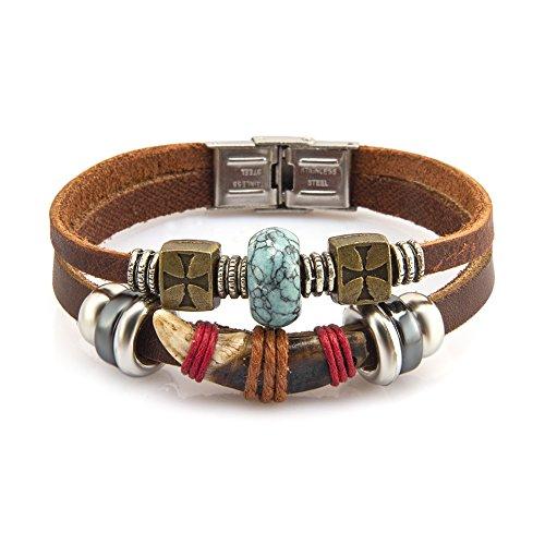 fairy-couple-bijoux-bracelet-en-cuir-antique-corne-handmade-et-tourquoise-artificiel-l208