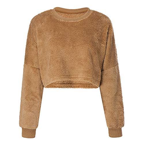 1a6fa8ce0380 TWBB Kurz Mantel Damen Winter Warm Einfarbig Langarm Teddy-Fleece Urlaub  Casual Pullover Sweatshirt Top Mode Mit Rundhalsausschnitt