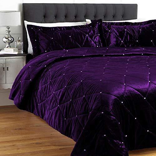 Luxuriöses Hochzeits-Bettwäsche-Set aus Samt und Kristallsteinen, gestepptes Design (King-Size/Cal King), Violett, 5-teilig (Cal-king-size-bettwäsche-sets)