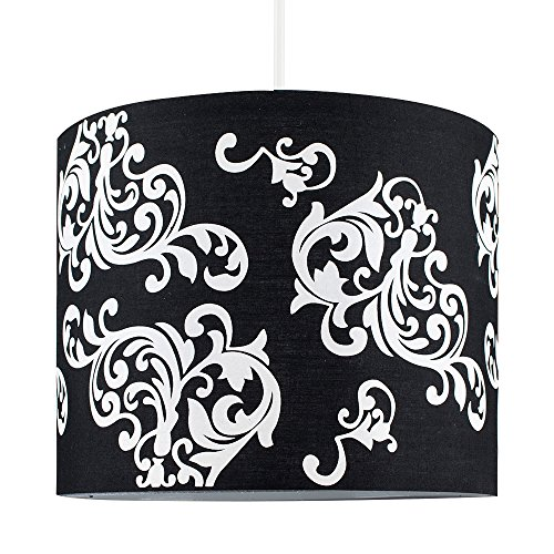MiniSun - Moderna pantalla de lámpara de techo colgante, cilíndrica, con estampado floral de Damasco en blanco y negro