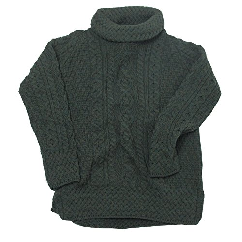 Irische Aran-damen-pullover (Dunkelgrüner Damen Aran Rollkragen Pullover aus Irland (M))