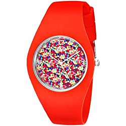 TKO Cool Red Rubber Fun Gum Ball Dial Watch For Teens TK655RD