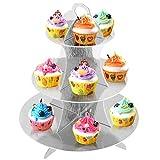 Trixes 3-etagiger wiederverwendbarer Cupcake Muffin Ständer aus Karton in Metallic Silber - 2